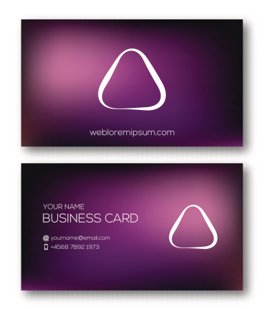 Business card template with abstract symbol on smooth background.
