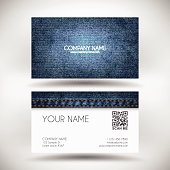 Business Card Template with blue denim texture.