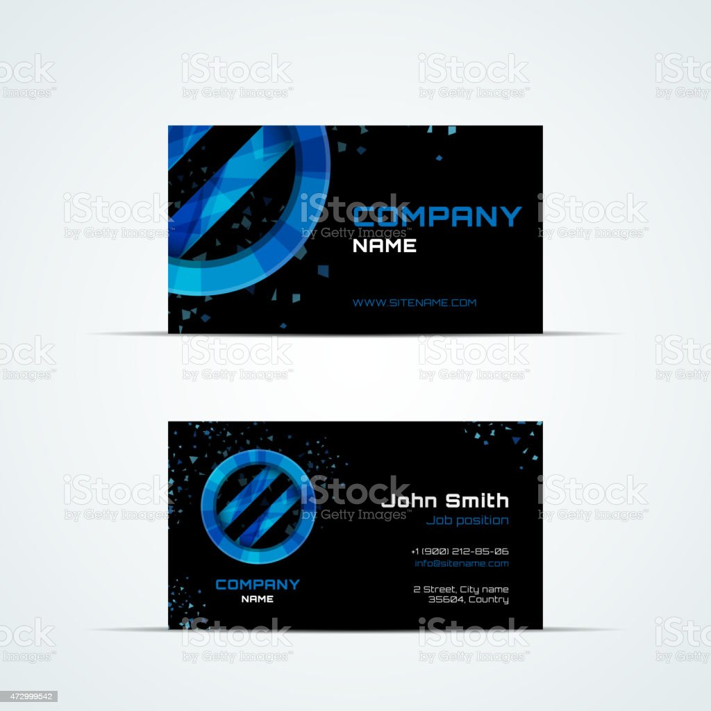 Business card template with blue sign vector art illustration