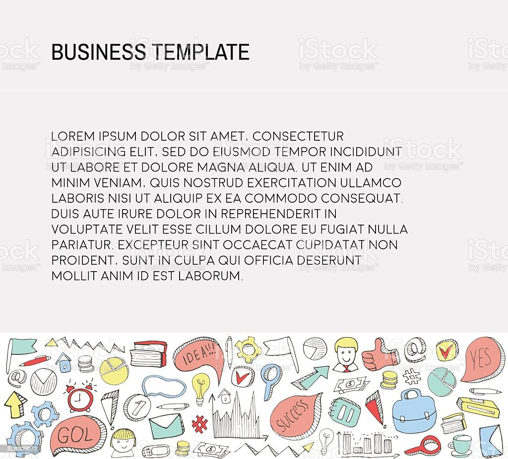 Business Card. Template with Business doodles Icons set. vector art illustration