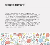 Business Card. Template with Business doodles Icons set.