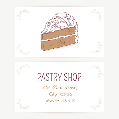 Business card template with chocolate cake