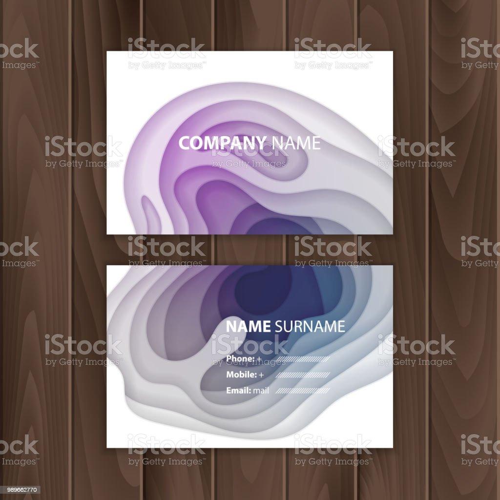 Modele De Carte Visite Avec Du Papier Colore Resume Coupe Design Illustration Vectorielle