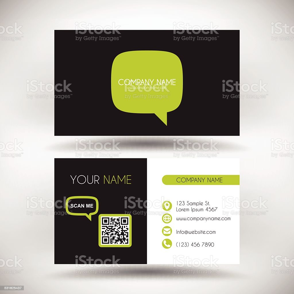 Business Card Template With Green Speech Bubble On Black Background Royalty Free