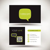 Business Card Template with Green Speech Bubble on Black Background