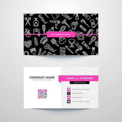 Business card template with hair salon symbols.