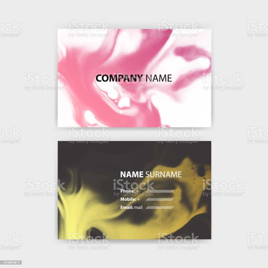 Business Card Template With Ink Background Design Horizontal Layout In Rectangle Size