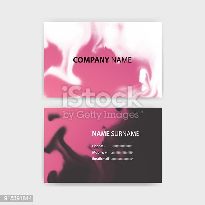 Business Card Template With Ink Background Design Horizontal
