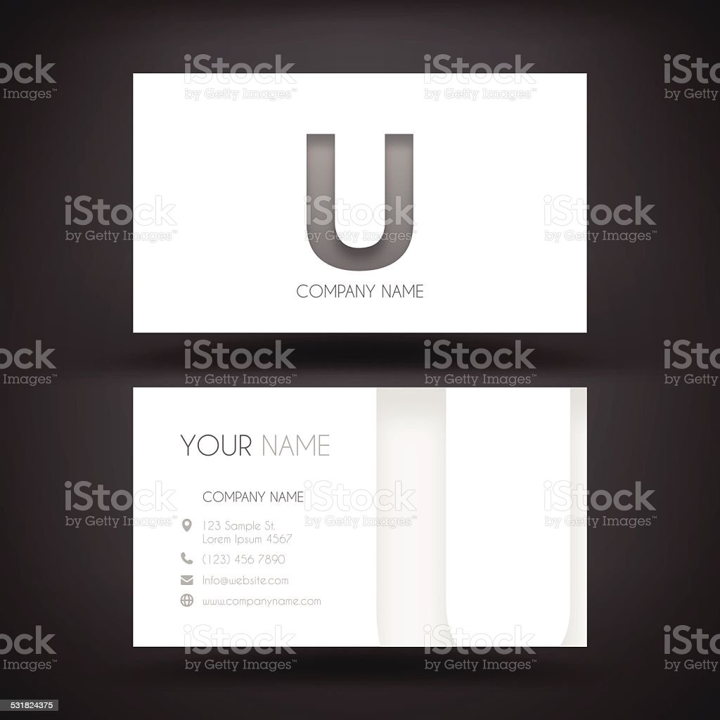 Business Card Template - with letter 'U' vector art illustration