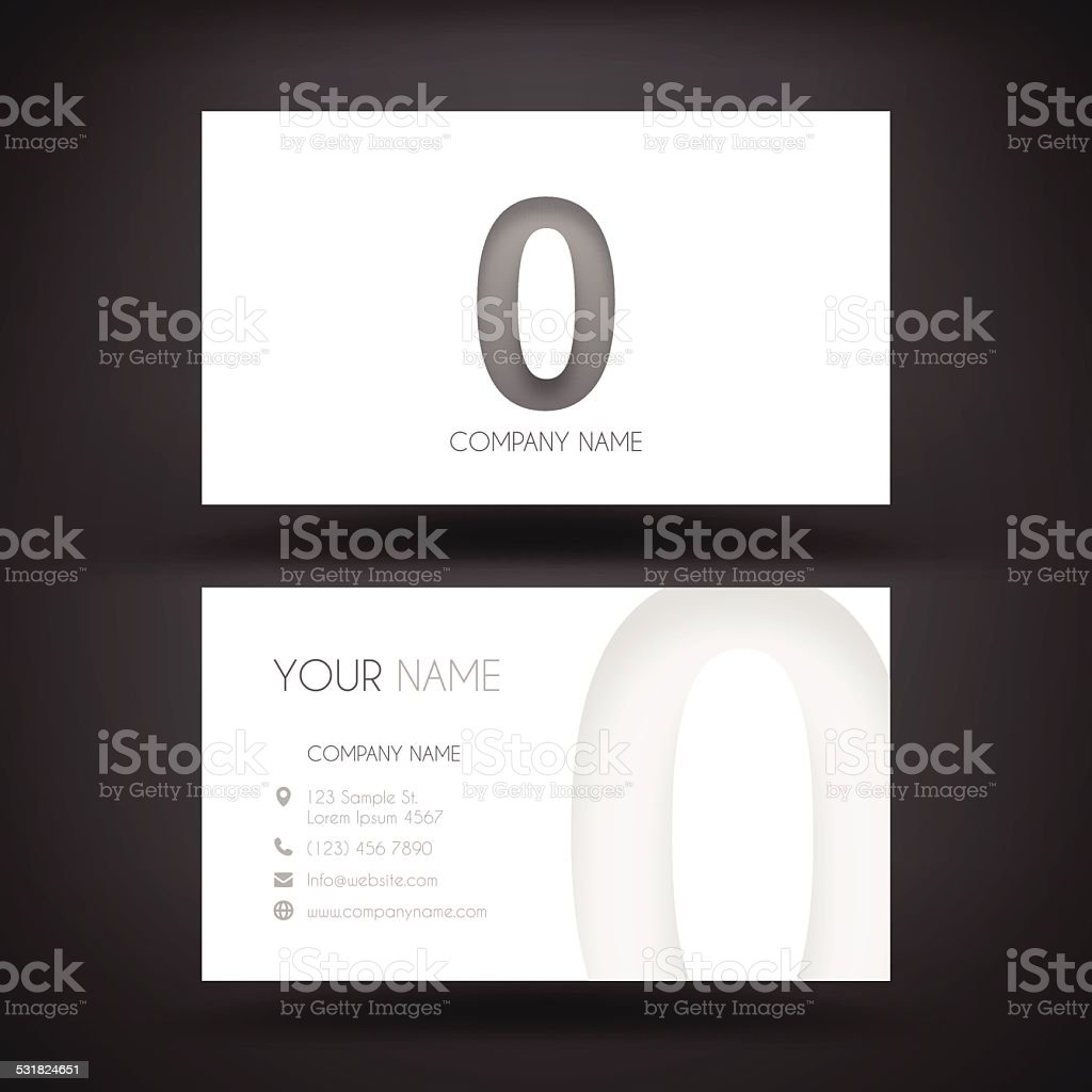 Business Card Template - with Number Zero '0' vector art illustration