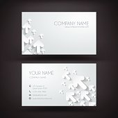 Business Card template with paper arrows rising. Design illutration.