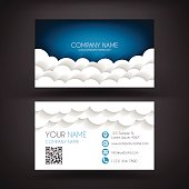 Business Card template with paper clouds background.