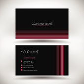 Business Card template with pink lines and a black background.