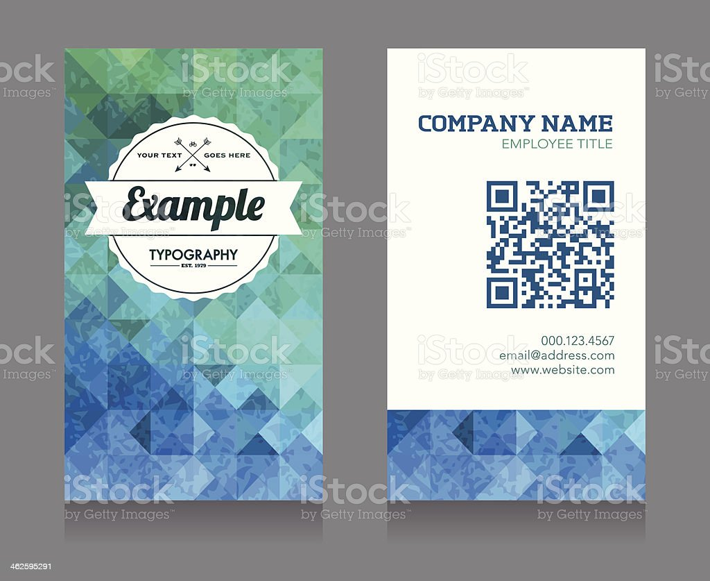 Business Card Template With Qr Code Stock Vector Art & More Images ...