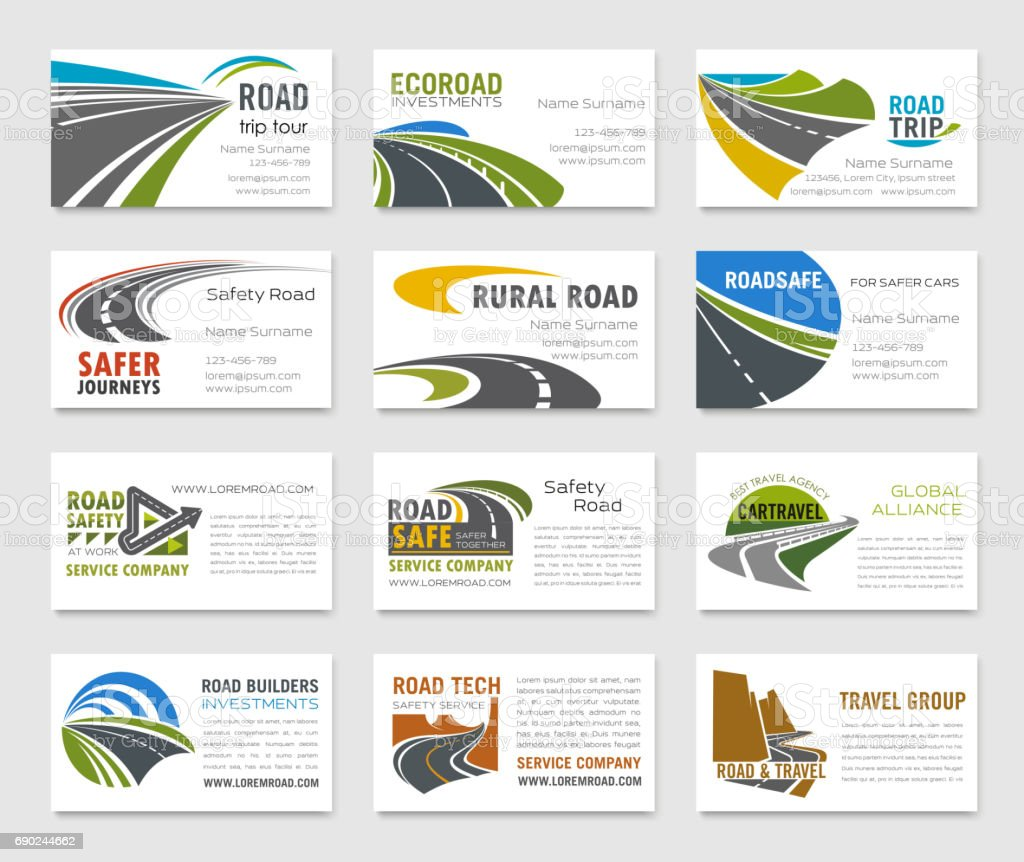 Business card template with road and highway vector art illustration