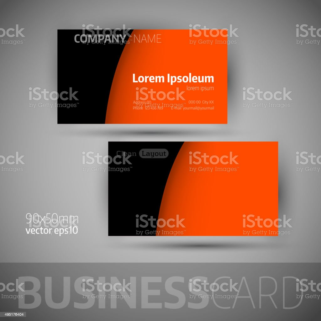 Business Card Template With Sample Texts Stock Vector Art - Sample business card template
