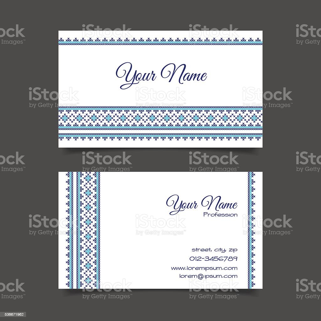 Business card template with stylish cross-stitch pattern vector art illustration