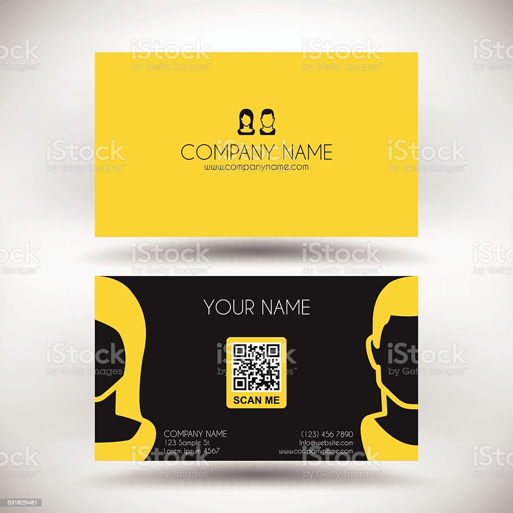 business card template with woman and man stock vector art more