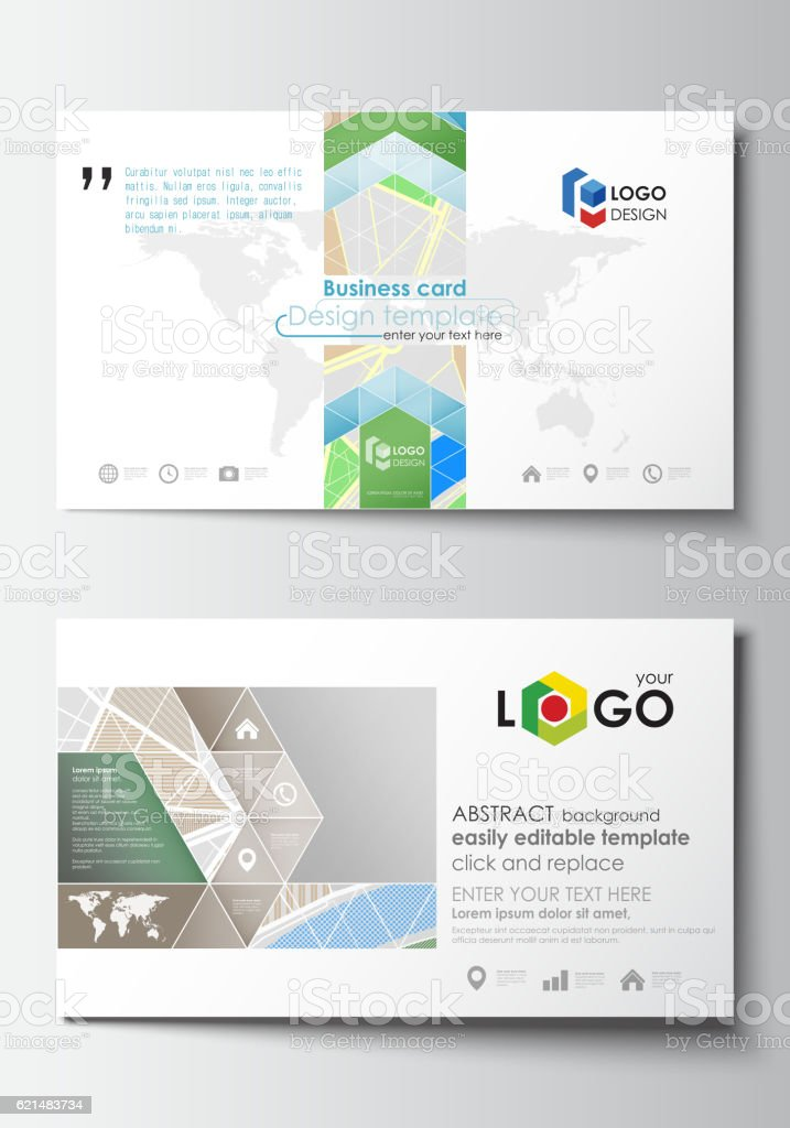 Business Card Templates Easy Editable Layout City Map With Streets ...