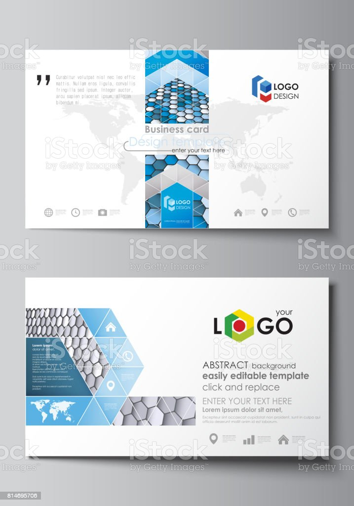 Modeles De Carte Visite Agencement Modifiable Facile Modele Vector Hexagones Couleur