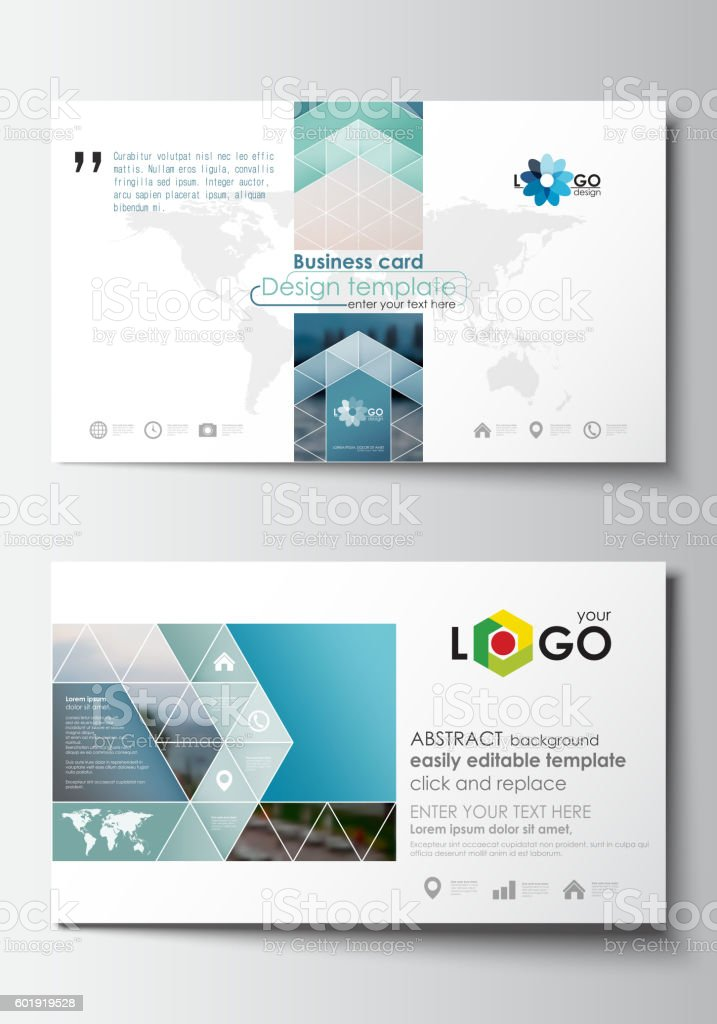 business card templates flat design blue color travel decoration