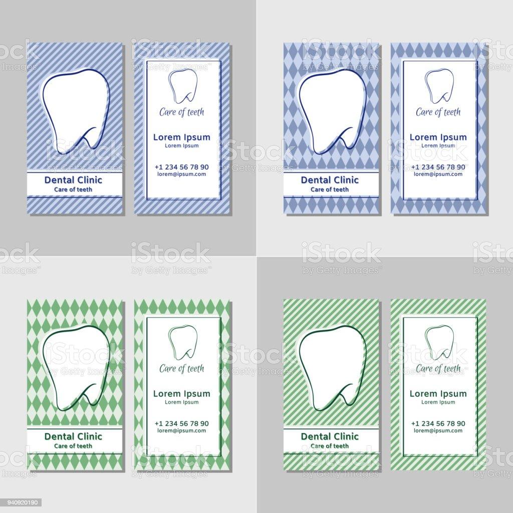 Visitenkartenvorlagen Für Zahnkliniken Stock Vektor Art Und