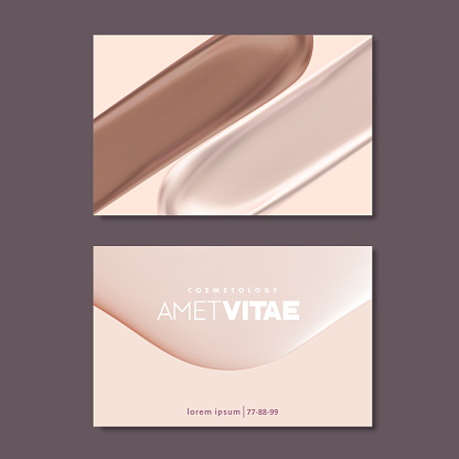 Business card templates for makeup artist, pastel colors and liquid textures. Cosmetic or beauty vector background