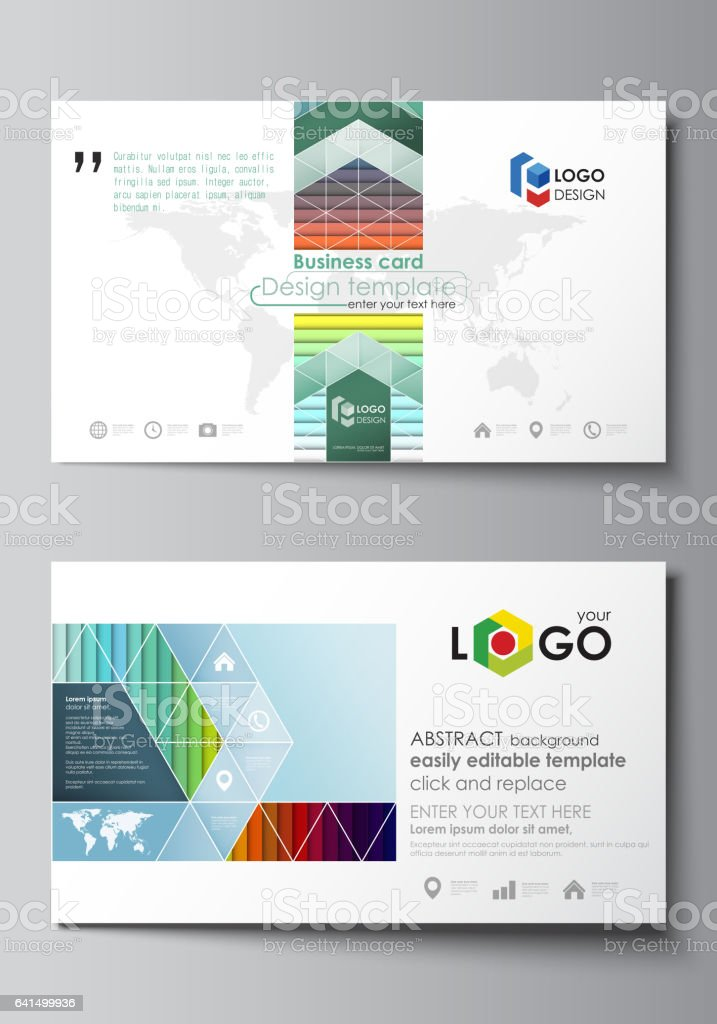 Business Card Templates Vector Layout Flat Style Template Bright ...