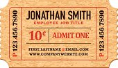 A business card designed to look like an old fashioned 'Admit One' ticket stub. No gradients used. The text is transparent (to show the paper texture underneath) but can easily be changed to full opacity on its own layer.