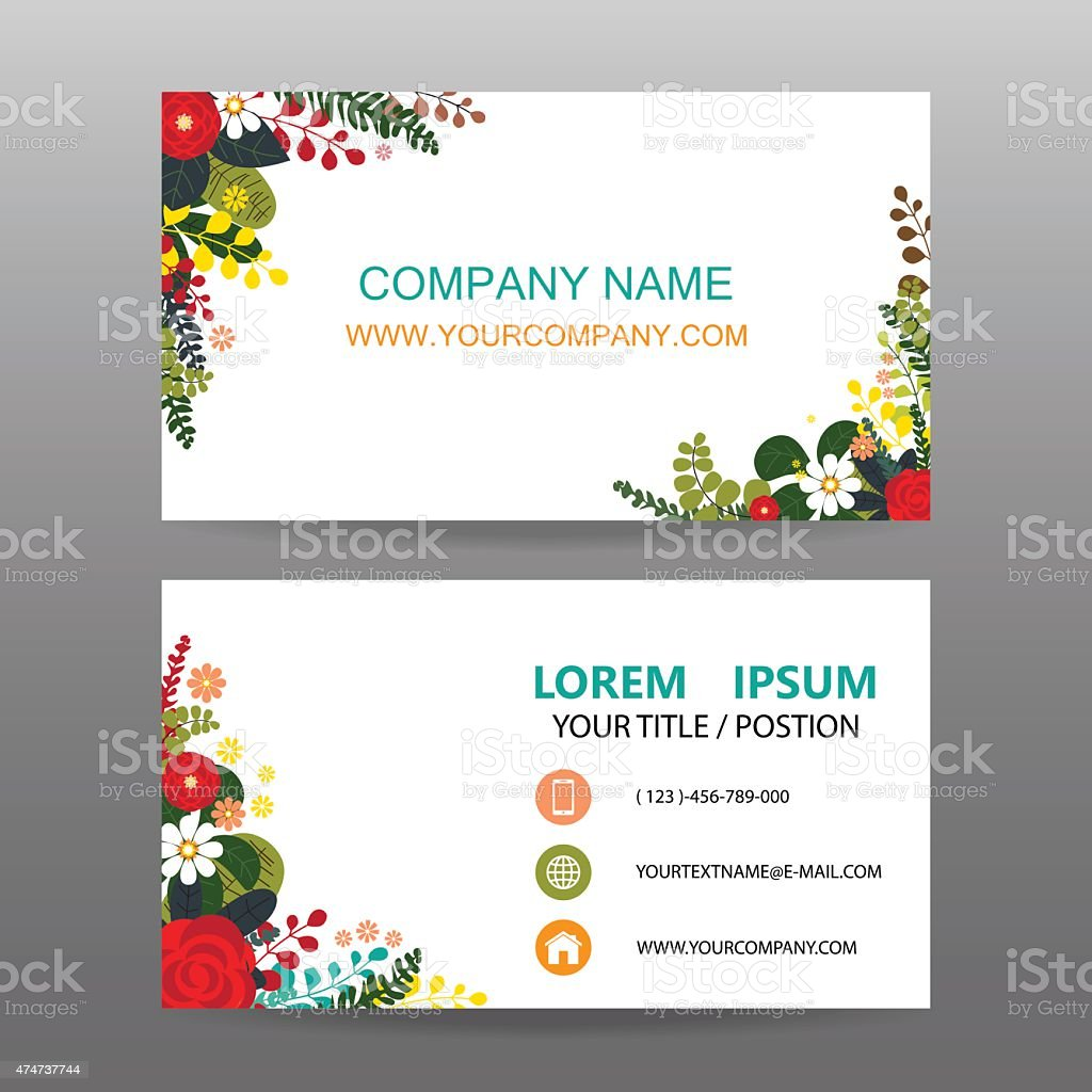 Business Card Vector Backgrounddecorated With Flowers Frame Stock ...
