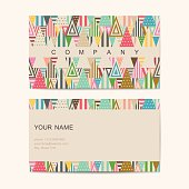 Business card template with abstract background. Vector illustration.