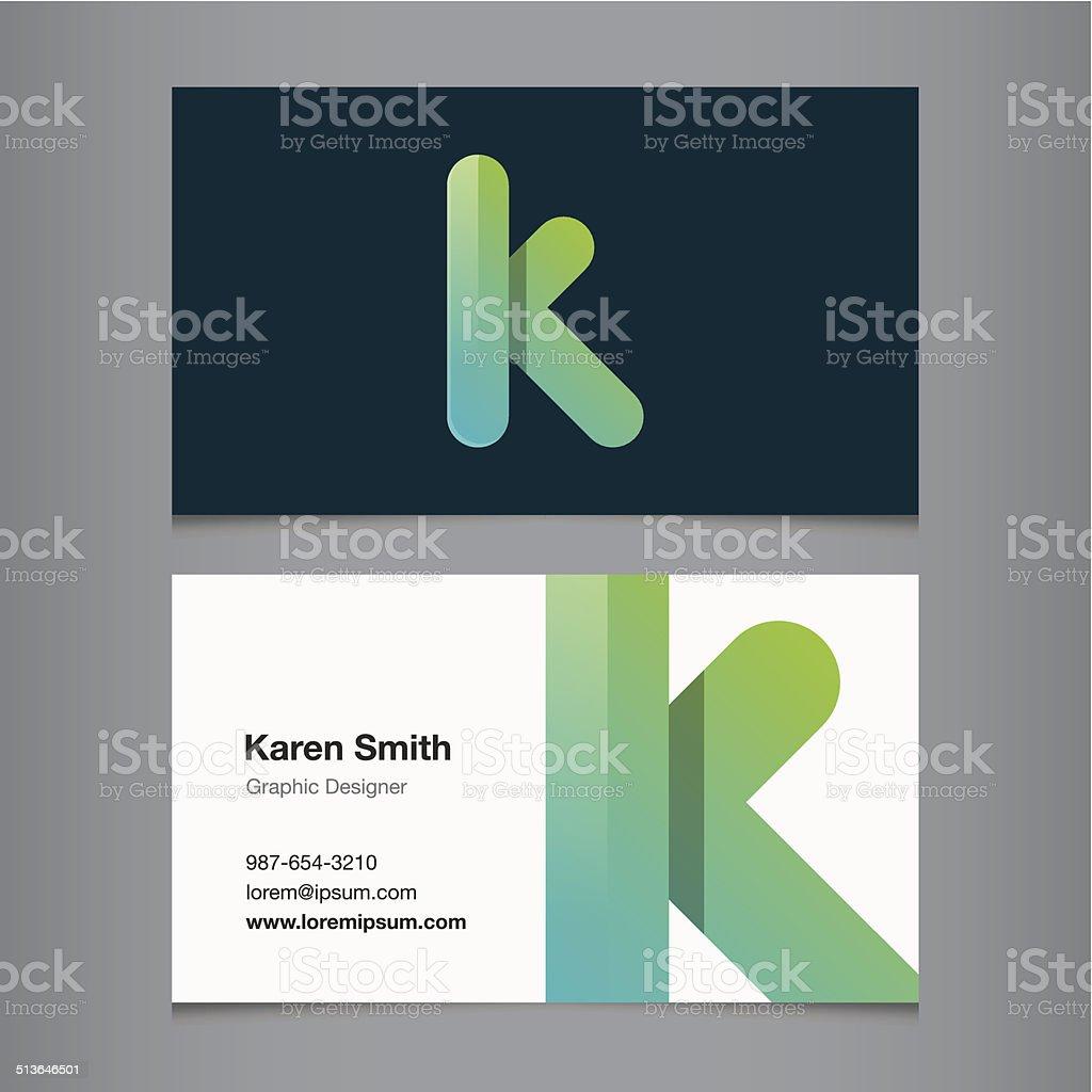 Business card with alphabet letter k vector art illustration