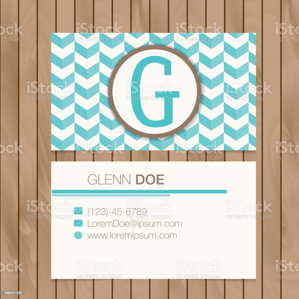 Business card with alphabet letter on a wood background royalty-free stock vector art