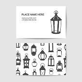 Business card with black on white doodle lanterns. Vector template