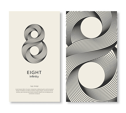 Business card template with eight logo and strip pattern. Vector illustration. Corporate icon minimal design, place for text. Trendy retro 3d graphic style. 8 geometric outline emblem, infinite lines