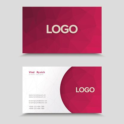 Business Card With Polygonal Mosaic Design