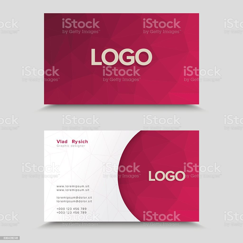 Business Card With Polygonal Mosaic Design vector art illustration