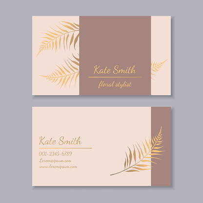 Business card with rose and gold floral design