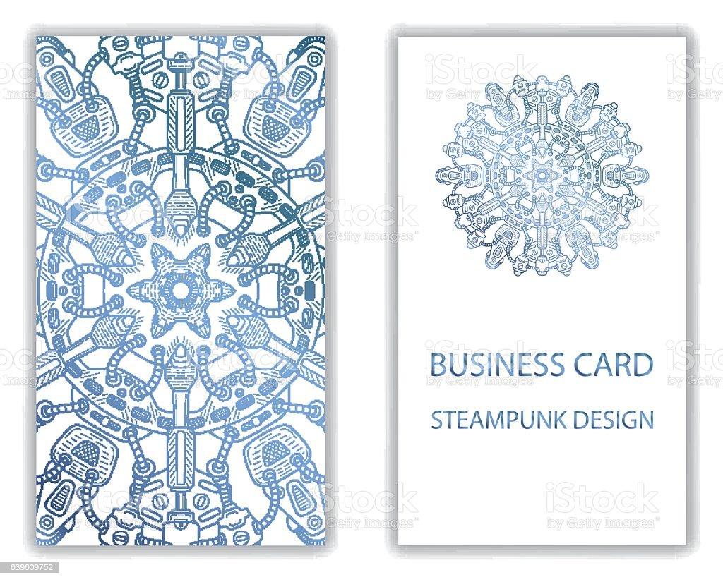 Business Card With Steampunk Abstract Design Elements Stock Vector