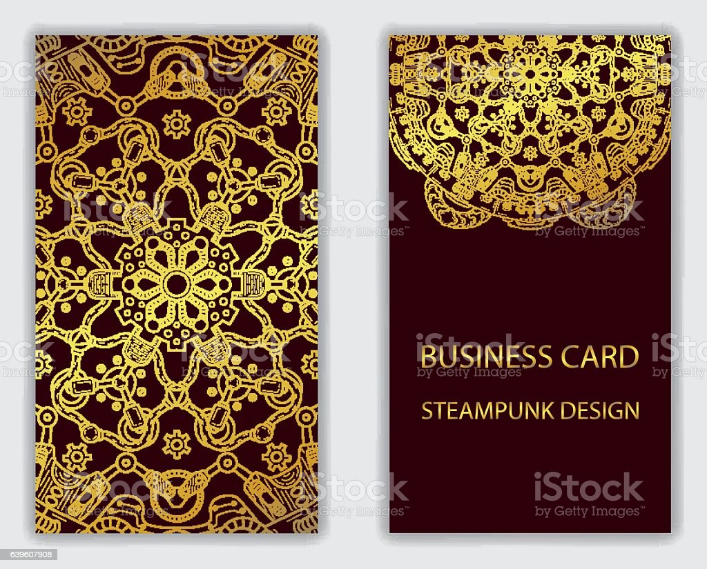 Business Card With Steampunk Design Elements Stock Vector Art & More ...