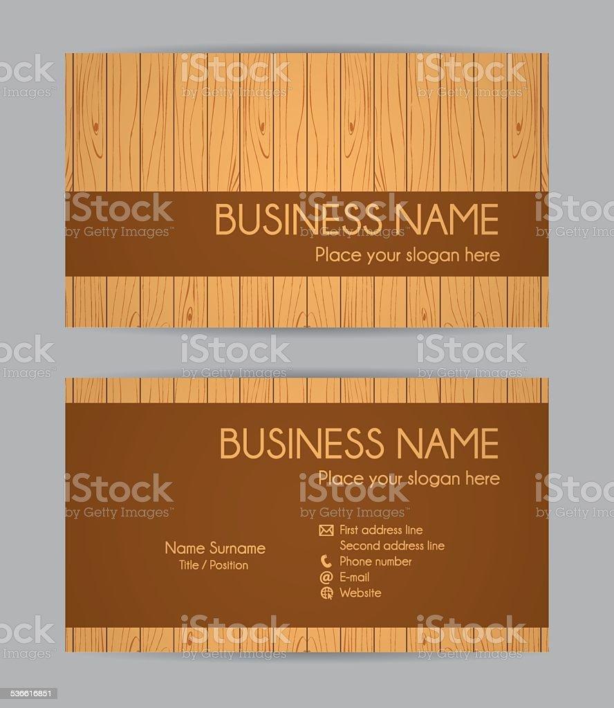 Carte De Visite Design En Bois Devant Et Le Dos IV Stock