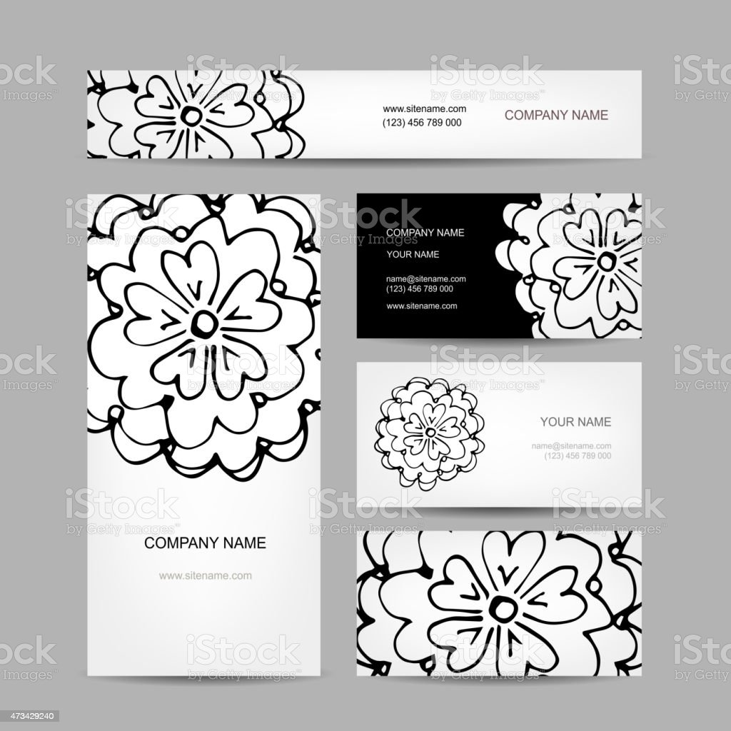 Business Cards Collection Abstract Floral Design Stock Vector Art ...