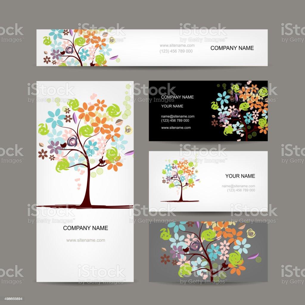 Visitenkarten Sammlung Floral Baum Design Stock Vektor Art