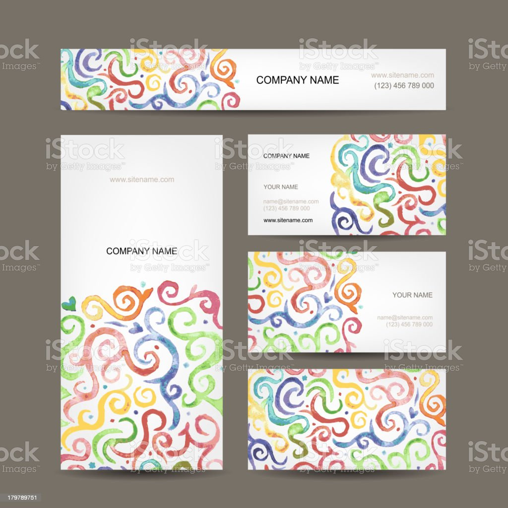 Business cards collection with watercolor waves design royalty-free stock vector art