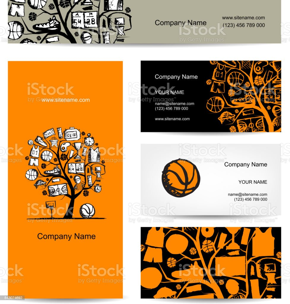 Cartes De Visite Conception Concept Arbre Basket Ball