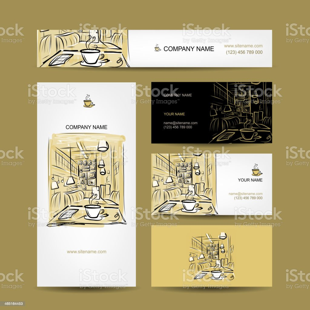 Business cards design, coffee house sketch vector art illustration