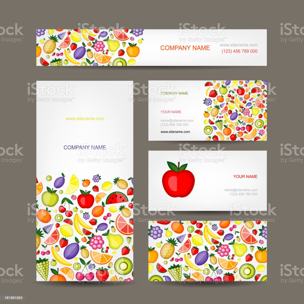 Business cards design, fruit background royalty-free stock vector art
