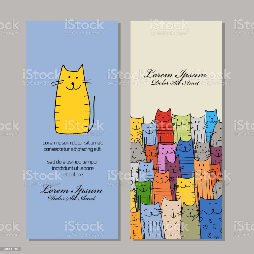 Conception De Cartes Visite Famille Chats Droles
