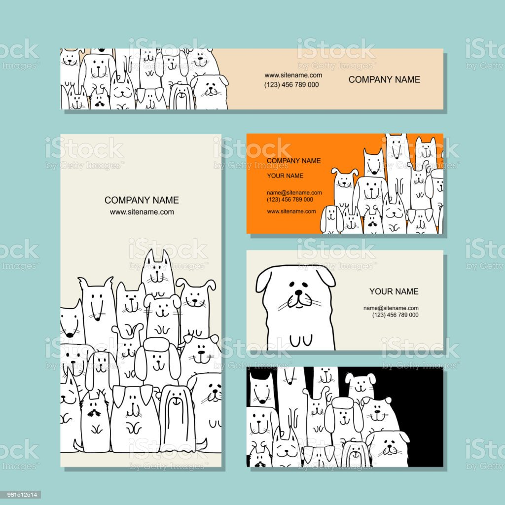 Business Cards Design Funny Dogs Family Stock Vector Art & More ...