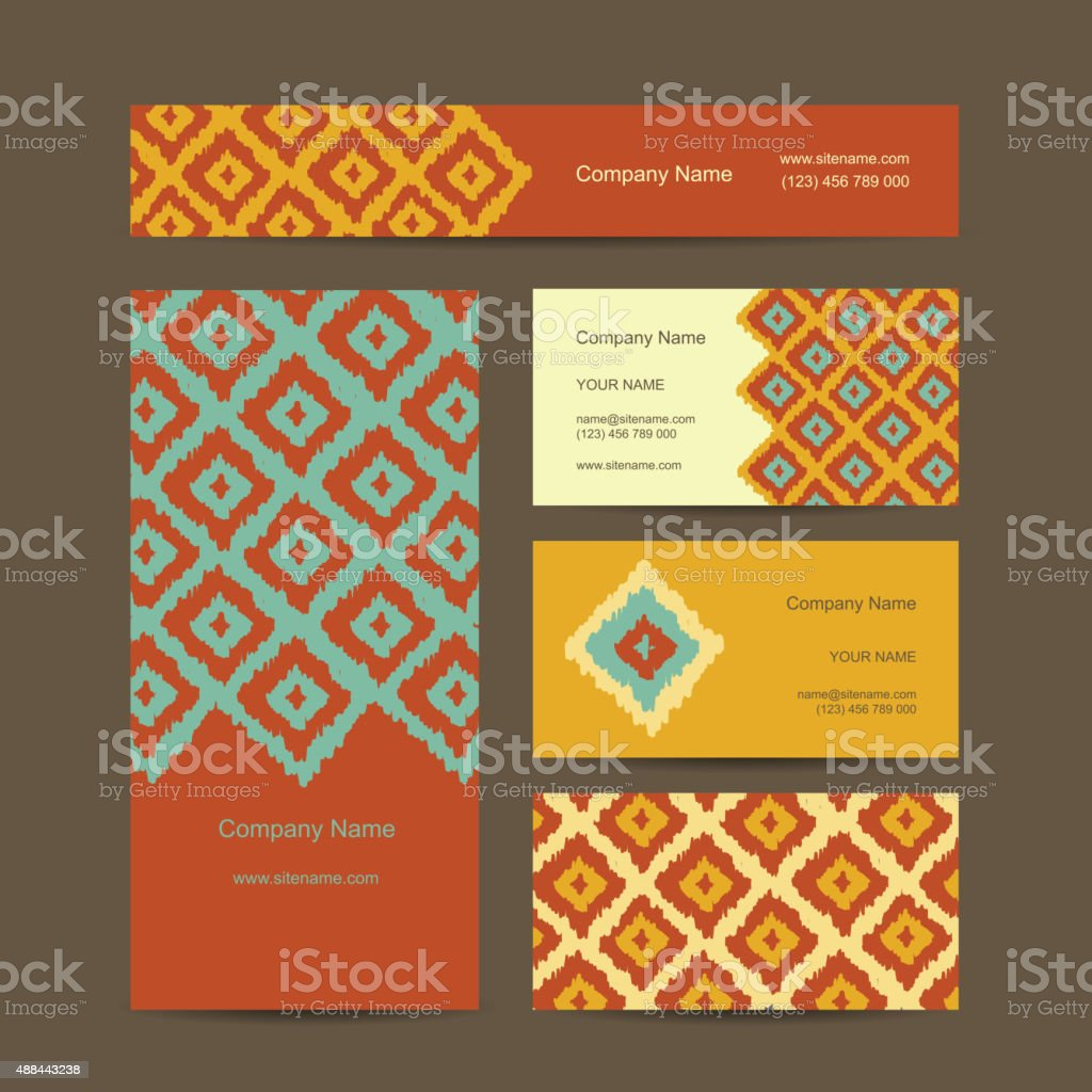 Business cards design, geometric fabric pattern vector art illustration